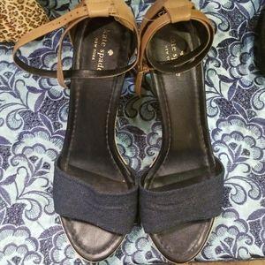 Kate Spade NY denim leather wedge sandal 11